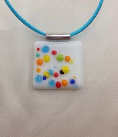 Colorful Bubbles Fused Glass Necklace by LauraFayeArtGlass on Etsy, $20.00