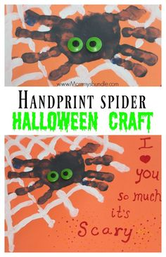 {FREE Printable} An easy handprint spider craft for toddlers and preschoolers. Makes such a fun Halloween craft for all kids!! Use the printable template to add a cute spiderweb and message.
