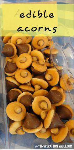 Edible Acorns Sasquatch Party Food Bigfoot Party. Fall food ideas. Thanksgiving treats. #inspovault