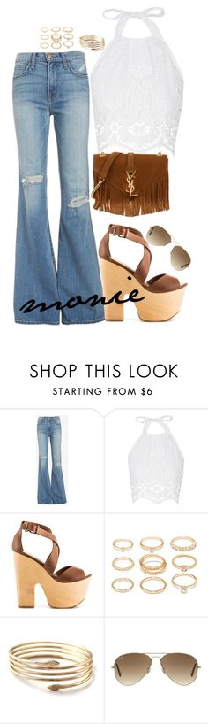 """""""Untitled #16"""" by missybeautystyle on Polyvore featuring Current/Elliott, Miguelina, Chinese Laundry, Forever 21, Ray-Ban and Yves Saint Laurent"""