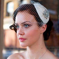 Vintage style Bridal Headdress with detachable Birdcage veil in pleated silk. White, ivory, cream, champagne, black, blue, pink. AgnesHart. $235.00, via Etsy.