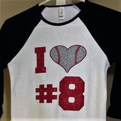 Glitter I Love Baseball Raglan Tee Baseball by SouthernCustomTees