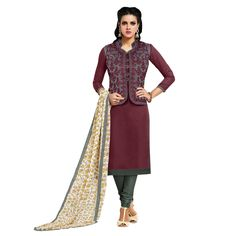 http://www.thatsend.com/shopping/lp/fvp/TESG15884/i/TE27984/iu/brown-chanderi-salwar-kameez  Brown Chanderi Salwar Kameez Apparel Pattern Embroidered. Occasion Casual. Style Casual, Churidar. Stiching Type UNSTITCHED. Work Heavy Embroidery.