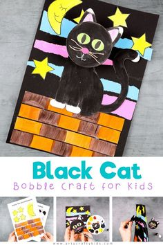 Black Cat Craft for Kids to Make - A fun, interactive and easy black craft for Halloween! Our black cat craft supports fine motor skills for preschool   school early years children by including coloring, cutting, sticking and folding, and it also encourages concentration and precision with the different elements they need to assemble. Get the printables to make this   other 3D paper animal crafts for kids here! Halloween Crafts for Kids | Easy Cat Crafts for Kids | Halloween Cat Crafts for… Halloween Cat Crafts, Fun Halloween Games, Halloween Decorations For Kids, Halloween Kids, Paper Animal Crafts, Animal Crafts For Kids, Crafts For Kids To Make, Kids Crafts, Fall Crafts