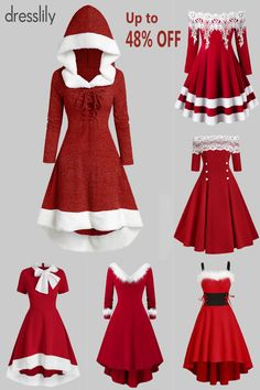 Vintage Dresses - Retro & Vintage-Inspired Dresses -Winter Outfit Ideas - How to Dress This Winter - Winter Fashion Trends - Fashion Ideas for Cold Weather. #dresslily #red #vintagedress #Christmas #Xmas #newyear