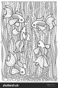 Hand Drawn Marine Adult Coloring Page, Fish Swim In Algae Anti Stress Zentangle ภาพประกอบเวกเตอร์สต็อก 475805041 : Shutterstock