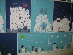 Revitystä valkoisesta paperista lumilinnoja ja lumiukkoja.