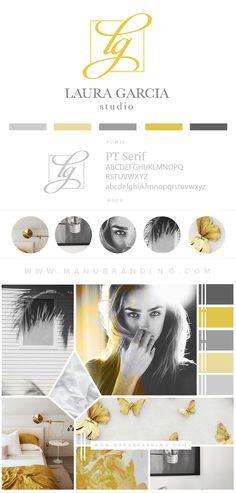 Chic branding for laura garcia studio. Feminine. Black logo. yellow. Coastal Inspired. Industrial. Professional Business Branding by Manu branding. Web Design, Logo, Mood Board, Beauty, Brand Boards, and more.
