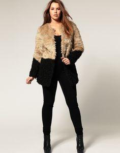 Plus size ASOS Faux Fur Coat with Contrast Hem. Brilliant!