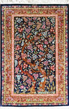 Tree of Life Qom Silk Silk Persian Rug | Exclusive collection of rugs and tableau rugs - Treasure Gallery