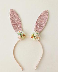 Bunny Headband - Pink Bunny Ears - Rabbit Ears Headband - Floral Crown - Easter Headband Item #014