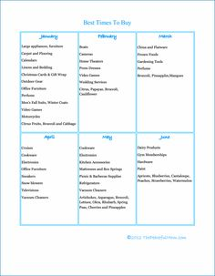 FREE Printable: Best Times To Buy Chart.  Always wanted to know this!