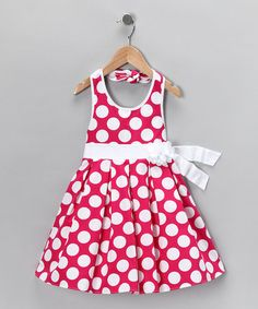 Take a look at this Pink Polka Dot Halter Dress - Girls by Sweet Heart Rose on #zulily today!