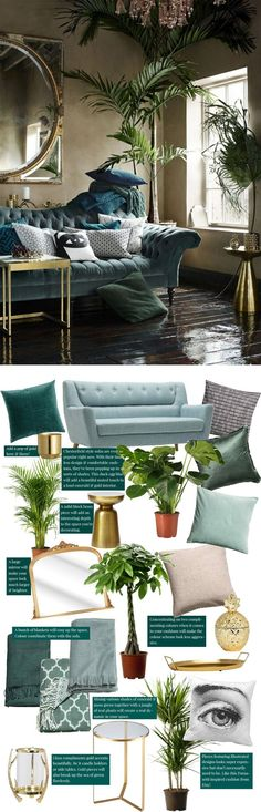 Recreate the Pin: Dark luxury & moss green interior decor. Want to create an emerald & gold home decor? Then this post is for you! From large houseplants and palms to bronze and gold mirrors, plant pots, vases, side tables and an array of affordable cushions & blankets plus green chesterfield sofa ideas! Cityscape Bliss // creative home