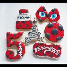 1 DOZEN Decorated Cookies - Miraculous: Tales of Ladybug & Cat Noir Paris Eiffel Tower Lady Bug Birthday Favors Birthday Cookies, Birthday Favors, 7th Birthday, Birthday Parties, Frozen Birthday, Ladybug Cookies, Cat Cookies, Ladybug Cake Pops, Bolo Lady Bug