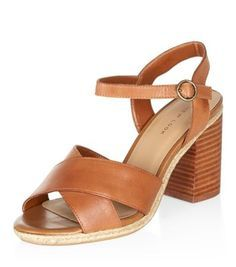 Tan Leather Cross Strap Block Heels from New Look Low Heel Sandals, Ankle Strap Heels, Ankle Straps, Low Heels, Block Sandals, Shoe Gallery, Shoe Shop, Tan Leather, Accessories