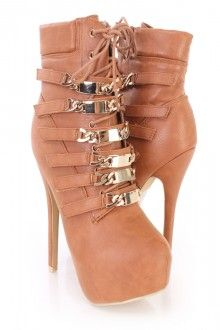 Rust Polished Chain Strappy Platform Booties Faux Leather