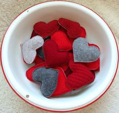 Pocket Hand Warmers RED HOT HEARTS Felted Wool 6 Pairs Valentines Day. $81.00, via Etsy.