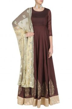 This gorgeous brown block print kalidar anarkali is on 40% off. Now priced at just Rs. 17,770. #Frugal2Fab