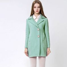 New Type Sweet Style Wide Lapel Medium Length Slim Coats
