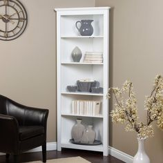 Finley Home Redford Corner Bookcase - White -  Item # HN-DIME048  Hayneedle  $229.99 Dimensions: 28.5W x 17D x 72H inches Ideal for rooms with minimal wall space White finish brightens any decor Constructed of MDF with wood veneers Weight capacity: 30 lbs. per shelf