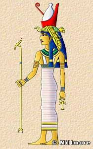 Mut  Mut formed part of the Theban Triad. She was one of the daughters of Ra, the wife of Amun, and mother of Khonsu. She was the Vulture goddess and is often depicted as a woman with a long, brightly colored dress and a vulture headdress surmounted by the double crown. In her more aggressive aspect she is shown as a lion-headed goddess.