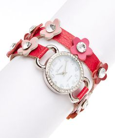 Love this Hot Pink Floral Leather Wrap Watch on #zulily! #zulilyfinds Mention my name please Christine Rancourt!