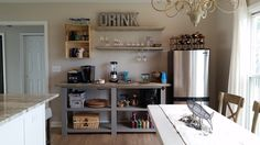 kitchenette bar area made with a console plan and shelves! Rustic X beach beverage center   Do It Yourself Home Projects from Ana White