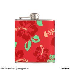 Hibicus Flowers Hip Flask