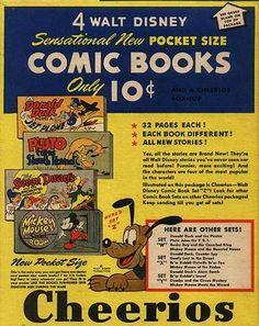 Cheerios cereal (back of the box) Disney comic book offer with Pluto c. Cheerios Cereal, Kids Cereal, Disney Package, Ol Days, Good Ol, Breakfast Time, News Stories, Vintage Ads, Food To Make