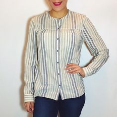 Madewell Striped Button Down Madewell striped button down. Loose fit. Great condition! Size M. NO Trades. Please make all offers through offer button. Madewell Tops Button Down Shirts