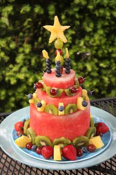 All fruit cake....I made this one for the buffet table of my kid's backyard birthday party.  The kids are going to love it!
