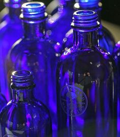 The iconic blue bottles used by Neals Yard Remedies are carefully chosen to help filter out UV light which in turn helps to keep the products fresh for longer without the need for chemical preservatives. #safecosmetics #blueglassbottles #organicbeauty