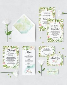 Excited to share the latest addition to my #etsy shop: Modern Botanical Green Wedding invitation Set // Wedding invitation templates // Wedding invitation Suite // Printable Wedding invites set https://etsy.me/2GJvuEF