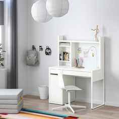 MICKE Desk, white, 41 You can adjust the shelves to fit different things, and adjust them again whenever you need to. Adjustable shelves help you use your space more efficiently. Plastic Shelves, Plastic Drawers, Ikea Micke, Girl Desk, Desk For Girls Room, Desk For Teens, Honeycomb Paper, White Desks, Ikea Desk White