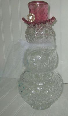 one of a kind! Up cycled Art Welcome offering this one of a kind Up cycled decorative Crystal Snowman Figurine sculpture with Ruffled