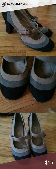 EUC  suede Aerosole Mary Jane heels Very cute suede three-tone (taupe, gray, black) neutral Mary Janes that could be worn with anything from jeans to a dress. Excellent condition, 9/10. Worn maybe once. Obviously comfortable since they're Aerosoles?. AEROSOLES Shoes