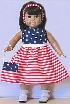 "Handmade PATRIOTIC RED WHITE BLUE DRESS Clothes American made for 18"" Girl Doll"
