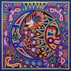 Huichol Painting - Huichol Moon And Sun by Andrew Osta