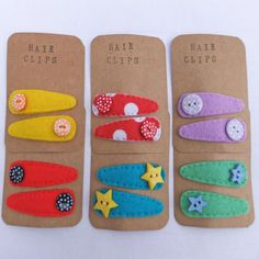 Yellow and Red Striped Felt Hair Clips