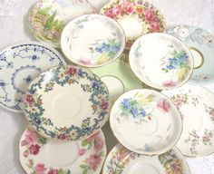 12 Assorted Vintage Saucers: Royal Albert by TheWhistlingMan