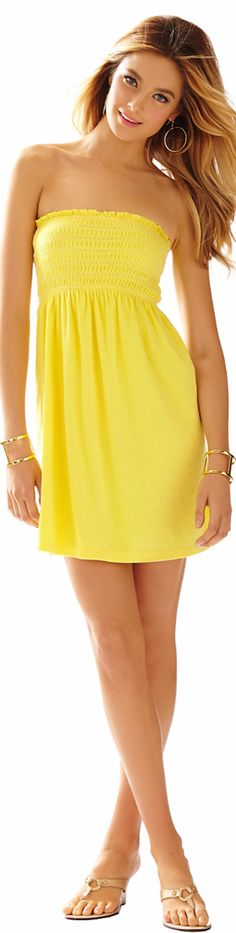 LILLY PULITZER BRIGITTE STRAPLESS SMOCKED DRESS - Sping 2015