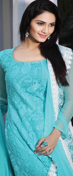 $87.27 Blue Full Sleeve Faux Georgette Knee Length Salwar Kameez 19701
