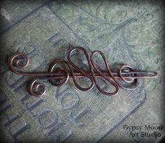 Copper Freeform Barrette or Shawl Pin