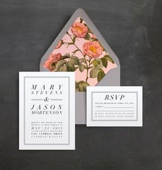 Clean, simple and modern typography paired with a charming floral envelope liner that adds a bit of romance. All of the text and colors