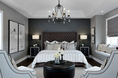 Dramatic bedroom with chandelier # bedroom # ideas … - All For Decoration Romantic Master Bedroom, Master Bedroom Makeover, Master Bedroom Design, Home Bedroom, Romantic Bedrooms, Bedroom Furniture, Master Suite, Dark Master Bedroom, Dark Furniture