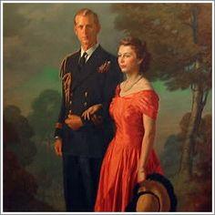 Portrait of Queen Elizabeth II and her Phillip