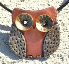 @Overstock - My Three Metals creates this delightful, easy-to-wear Owl Necklace. This handmade necklace has been hammered, soldered, pierced and stamped, and hangs from an 18-inch black leather cord.http://www.overstock.com/Main-Street-Revolution/My-Three-Metals-Owl-Necklace-North-Carolina/6370028/product.html?CID=214117 $34.49