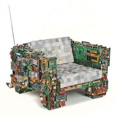 The Binary Chair is Made from Salvaged Computer Components #eco #homedecor trendhunter.com