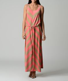 Look what I found on #zulily! Pink & Beige Chevron Maxi Dress by Dynasty Fashions #zulilyfinds